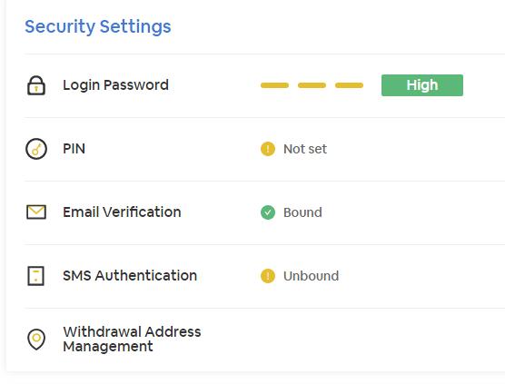 2段階認証のセキュリティ設定項目の画面です。ログインパスワードやPINコード、EメールやSMSなどで認証できます。