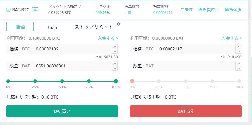 coinexのbat購入画面